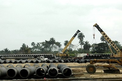West African gas pipeline under construction in Nigeria.