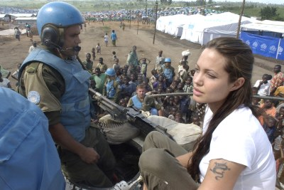 Academy award film actress Angelina Jolie, a UN goodwill ambassador, with UN troops in eastern DRC (file photo).