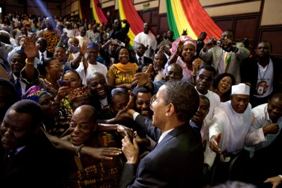 President Barack Obama shakes hands after making speech to Ghanian Parliament in July 11, 2009.
