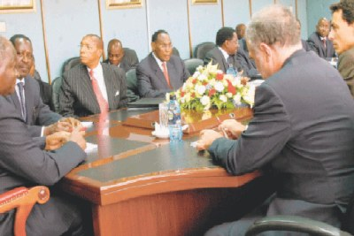 President Mwai Kibaki and Prime Minister Raila Odinga hold talks with ICC Chief Prosecutor, Louis Moreno Ocampo.