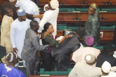 Supporters of then Speaker Dijemi Bankole fought during a session of the National Assembly after some members called for his impeachment.