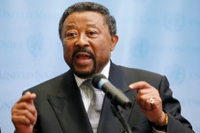 Jean Ping, Chairperson of the African Union (AU) Commission, briefs reporters following a high-level meeting on Somalia, held on the sidelines of the general debate of the sixty-fifth General Assembly.