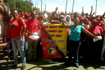 The Cosatu Swaziland Democracy Campaign march at the South Africa / Swaziland border at Oshoek. (file photo)