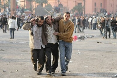 Protesters were injured in Tahrir Square on February 2, 2011.