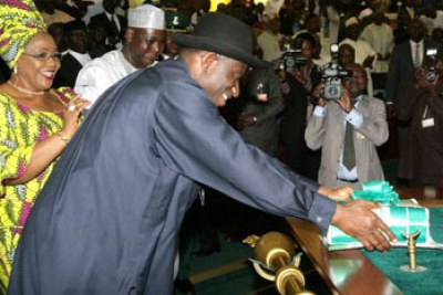 President Jonathan laying the Budget Proposal before the National Assembly.