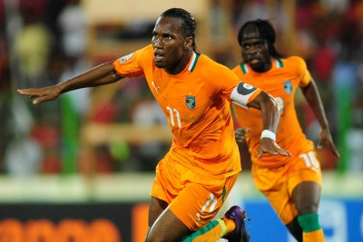 Didier Drogba celebrates the first goal of the match.