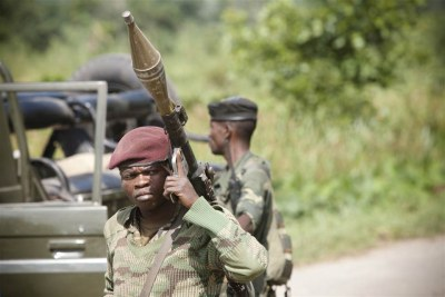 An armed soldier in DR Congo.