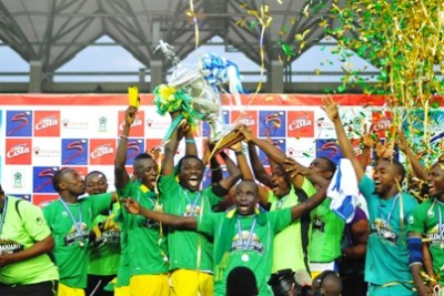 GIANTS Young Africans celebrating the CECAFA Kagame Cup trophy victory.