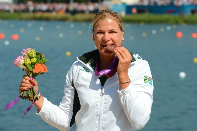 Bridgitte Hartley wins bronze during the Olympic Games Canoeing event at Eton Dorney.