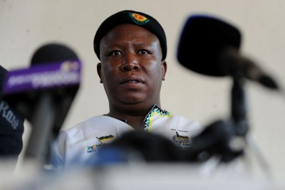 Julius Malema listens to the grievances of suspended in Johannesburg on Wednesday, 12 September 2012.