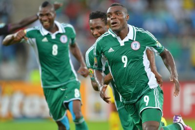 Emmanuel Emenike, 9, in action at the Africa Cup of Nations last year, will play a crucial role for the Super Eagles in Brazil. His pace and hard running style make him a dangerous opponent, but he also has the ability to bring others into the game and is a regular provider of assists.