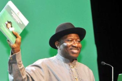 President Jonathan presenting his mid-term report