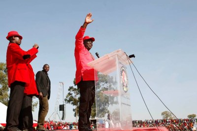 MDC-T President Morgan Tsvangirai addressing a rally.