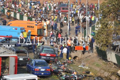 Vehicles and motorcycles hit by the impact of the explosion at the Nyanya Motor-park, along Abuja-Keffi Expressway outside Abuja.
