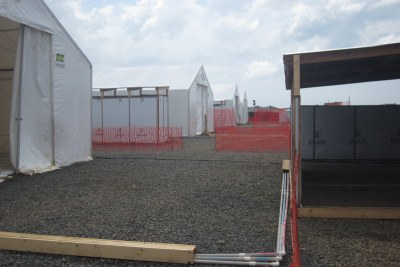 Tents at a U.S.-built Ebola Treatment Unit in Liberia.