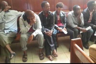 Some of the terror suspects linked to the Garissa University College attack, who were remanded until May 7, to allow the police to complete investigations.