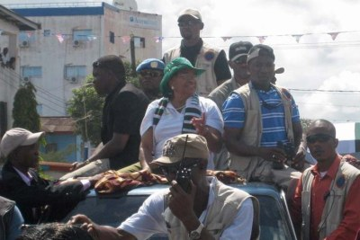President Ellen Johnson Sirleaf on the campaign trail for the 2011.