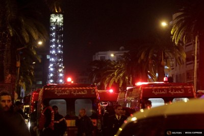 The scene of the bombing of a military bus in Tunis, which left 12 presidential guards dead.