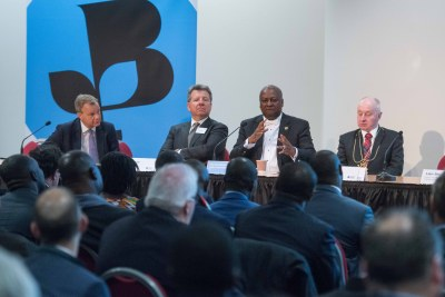 From left to right: Former MP Mark Simmonds, CEO & President  - GE UK & Ireland Mark Elborne, His Excellency President John Dramani Mahama and Lord Provost of Aberdeen George Adam address the audience during the Growth in Ghana forum on Friday, March 18.