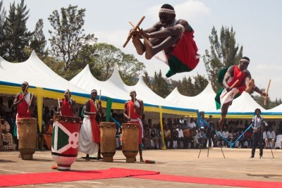 Burundian refugees perform during the World Refugee Day in Kigali.