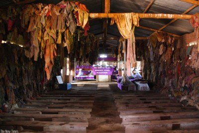 Remains and belongings of Genocide victims who were killed at Ntarama Catholic Church during the 1994 Genocide against the Tutsi (file photo).