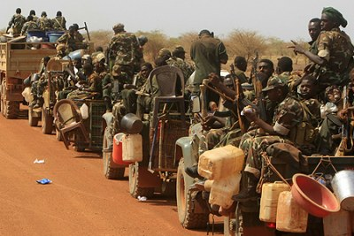 Sudanese forces leaving South Sudan (file photo).