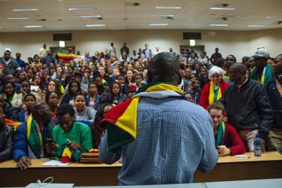 Evan Mawarire addresses students in Stellenbosch (file photo).