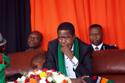 The re-elected Zambian president Edgar Lungu.