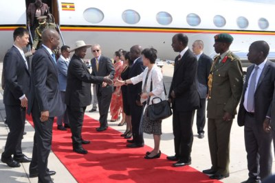 President Yoweri Museveni in China (file photo).