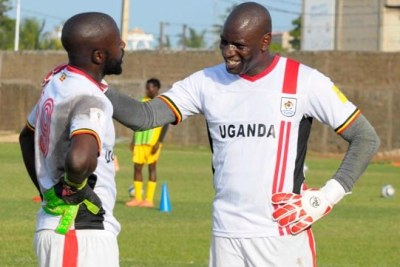 Cranes keepers Benjamin Ochan (left) and Denis Onyango.