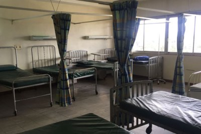 An empty hospital ward.