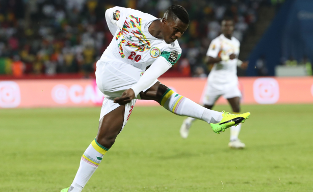 Keita Baldé of Senegal shoots during his side's clash with Zimbabwe at the African Cup of Nations finals in Gabon.