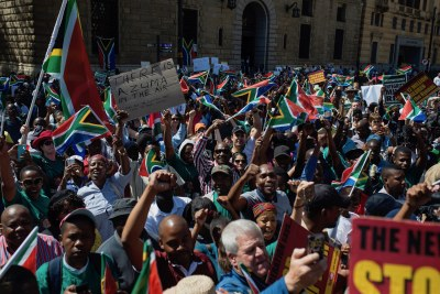 Protests outside the Treasury after President Jacob Zuma's cabinet reshuffle (file photo).