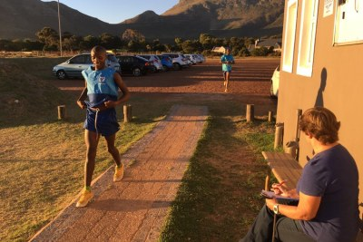 Inga Ngwenduana runs a time trial at Satori Athletics Club