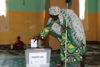 A senior citizen casts her vote during a past election.