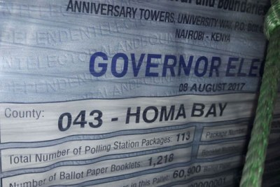 Ballot papers for Governor, Woman Rep and Senator seats arrive in Nairobi.