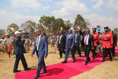 President John Magufuli and visiting Burundian President Pierre Nkurunziza arrive at the Ngara Old Post grounds in Kagera to address a public rally.