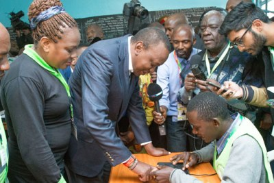 President Uhuru Kenyatta casting his vote in the August 8 general election.