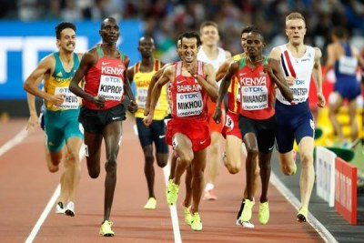 Elijah Manangoi and Asbel Kiprop in the men's 1500m.