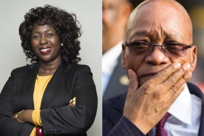 Left: ANC MP Makhosi Khoza. Right: President Jacob Zuma.