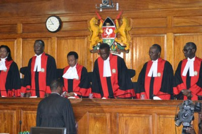 Supreme Court judges in Uhuru Kenyatta and Raila Odinga's August poll petition case.