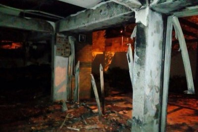 A staff room at CPUT Mowbray campus after an arson attack.