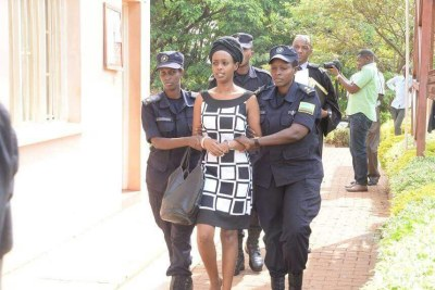 Diane Rwigara being taken to court.