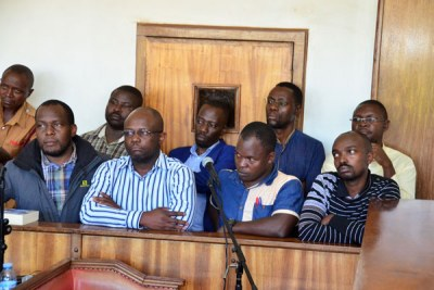 Red Pepper directors and editors in the dock at Buganda Road Court on Monday.