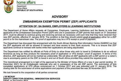 DHA statement on Zimbabwean Exemption Permit.
