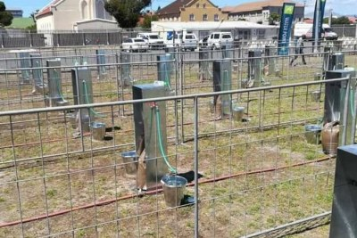 Water collection points set up in Cape Town in preparation for Day Zero.
