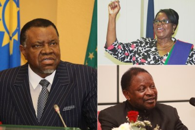 Left: President Hage Geingob. Former home affairs minister Pendukeni Iivula-Ithana, top right and former youth minister Jerry Ekandjo, bottom right.