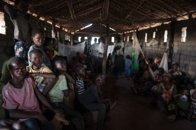 Displaced families shelter in a church in Tanganyika Province in the DR Congo.
