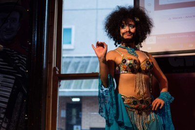 Activist Shrouk El-Attar at her bearded belly dance performance in London, United Kingdom.