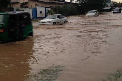 A flooded road in Dar es Salaam.